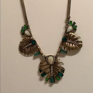 Palm Leaf Statement Necklace, antique gold plated